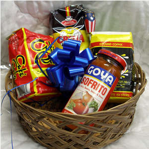 Gift Basket with Cafe Crema Expresso, Sofrito Goya, Cafe Yaucono , Cafe Rico, and a Key chain Puerto Rico