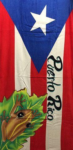Puerto Rico Flag And Coqui Towel Beach Towels