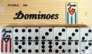 Dominoes Bandera, Flag <br>Wooden Box Puerto Rico
