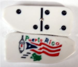 Dominoes in the shape of the Island and the Garita with the Flag  Puerto Rico