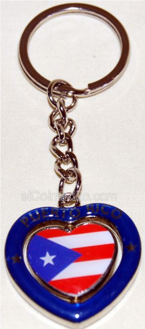 Heart Shape Keychain with Puerto Rico Flag that Spins (blue)