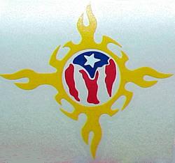 Flag Of Puerto Rico Tribal Design Rican